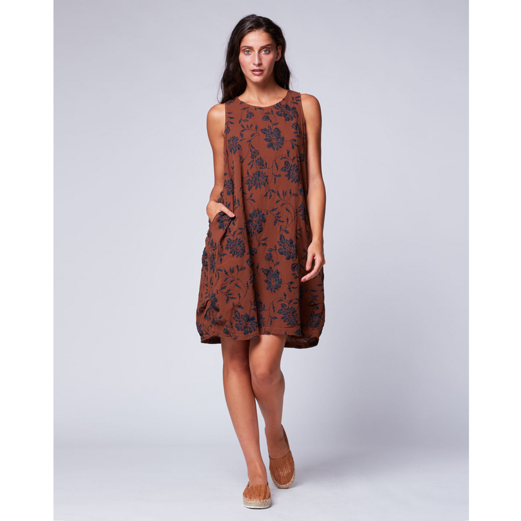 Floral Tank Dress - Tobacco / Navy
