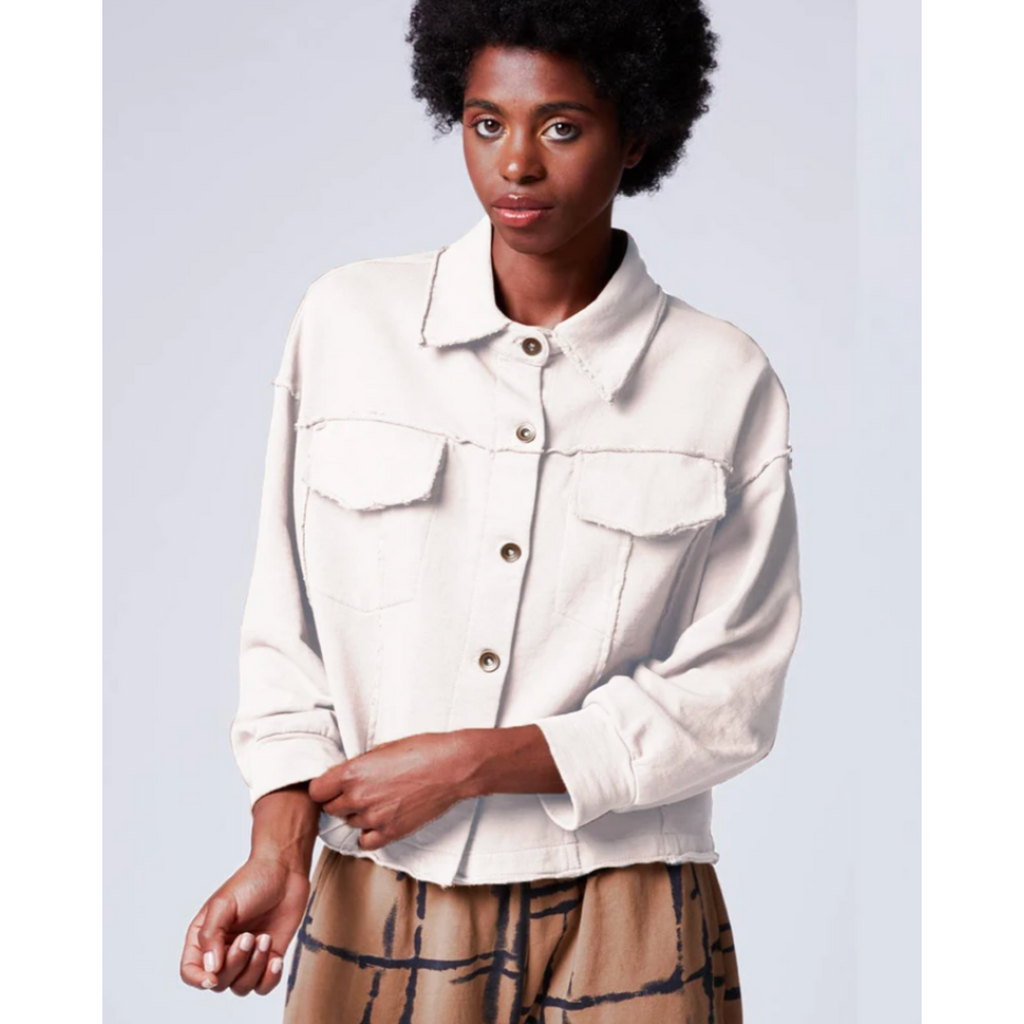 Raw Stitch Cropped Jacket - White