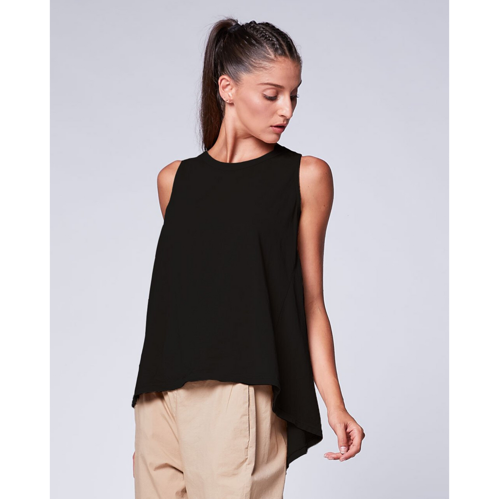 Pleat Back Tank - Black