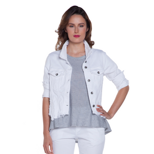 Baci Cropped White Denim Jacket
