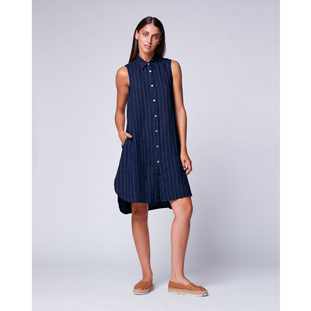 Pinstriped Sleeveless Linen Shirtdress - Navy