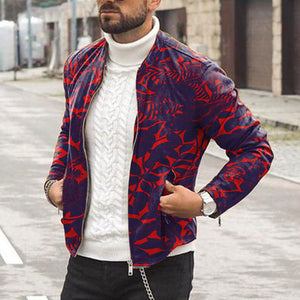 Men's Fashion Red Plant Print Street Casual Jacket