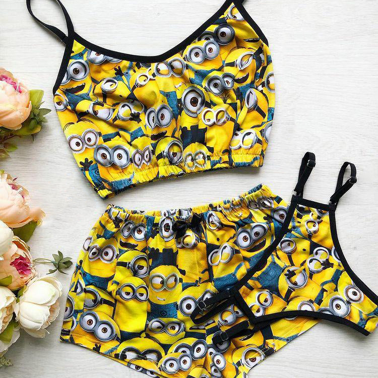 Yellow casual little yellow cartoon printed suspender shorts 3-piece set