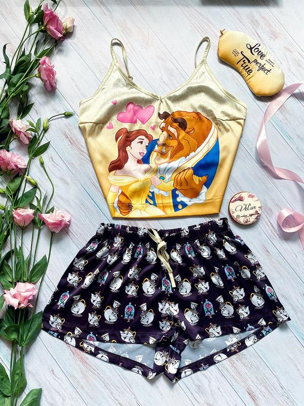 Multicolor fashion beauty and beast print suspender pants suit