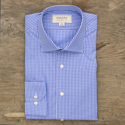 HAGEN Super Fine Broadcloth Blue Gingham Check Tailored Fit