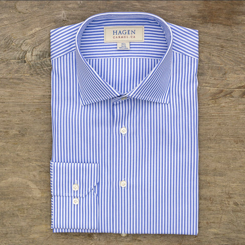 HAGEN Super Fine Broadcloth Blue Bengal Stripe Tailored Fit