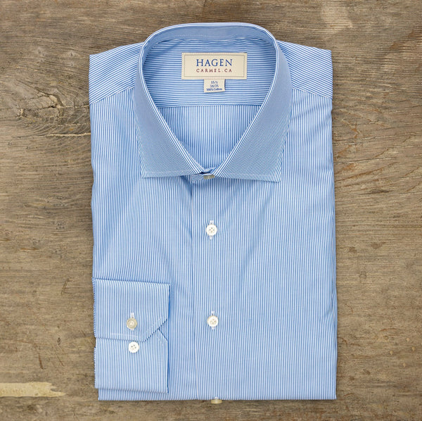 HAGEN Super Fine Poplin Blue Pencil Stripe Tailored Fit