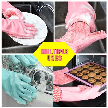 SILICONE DISH WASHING GLOVES (RANDOM COLOR)