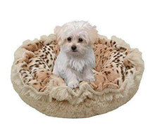 Load image into Gallery viewer, Small Plush Leopard Dog Bed Made in USA