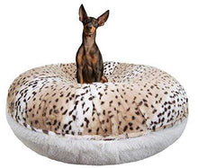 Load image into Gallery viewer, Snow Leopard Shag Plush Dog Bed Made in USA