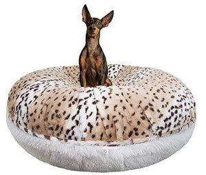 Snow Leopard Shag Plush Dog Bed Made in USA
