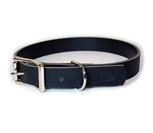 Thick Black Leather Dog Collar Made in The USA