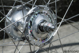 SUZUE pro max track hubs and ARAYA gold rims and Hoshi spokes NJS approved wheel set