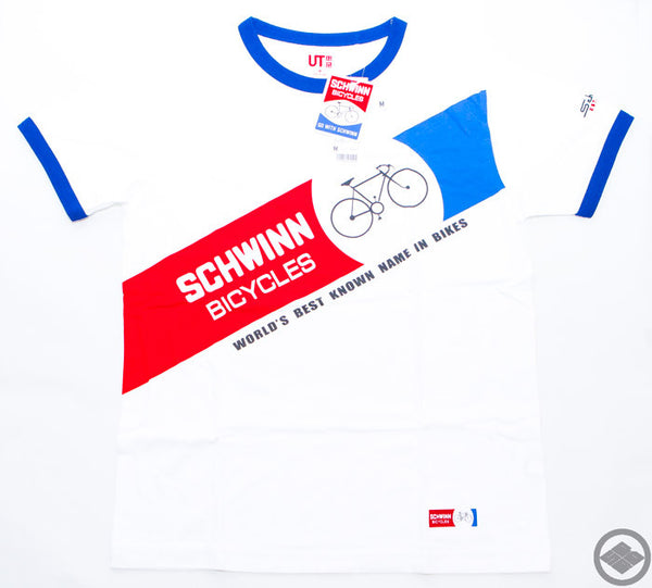 SCHWINN bicycles x UNIQLO short sleeve shirt size L,M color:white, Free Economy shipping for AISA, US, AUS, CAN, UK, EURO! (14-02-018)