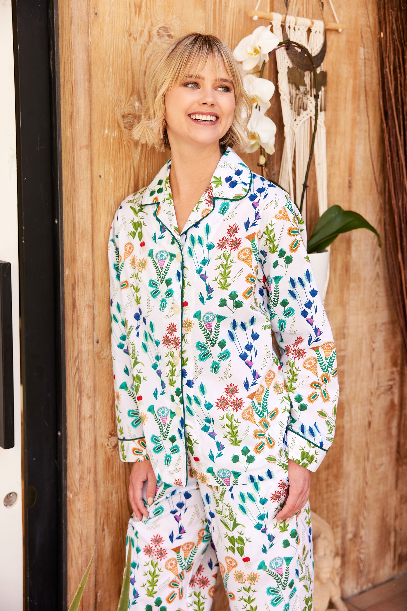 Model wearing Botanical Gardens Luxe Pima Pajama