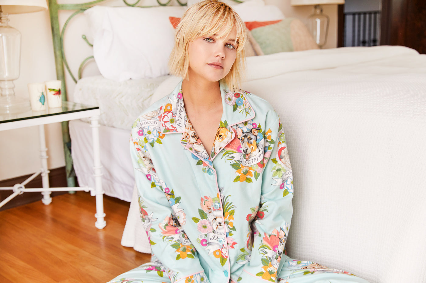 Model wearing Harlee Flannel Pajama