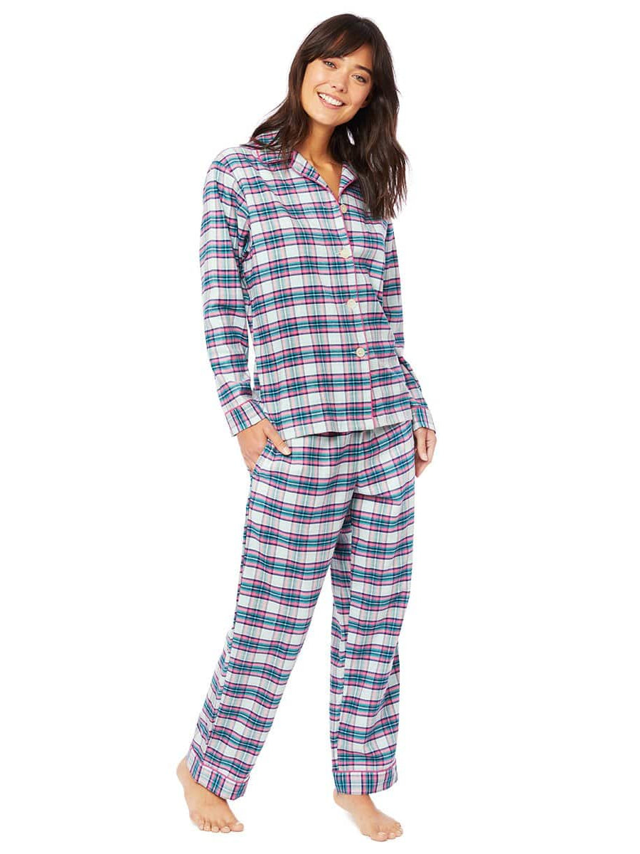 Model wearing Brooklawn Flannel Pajama