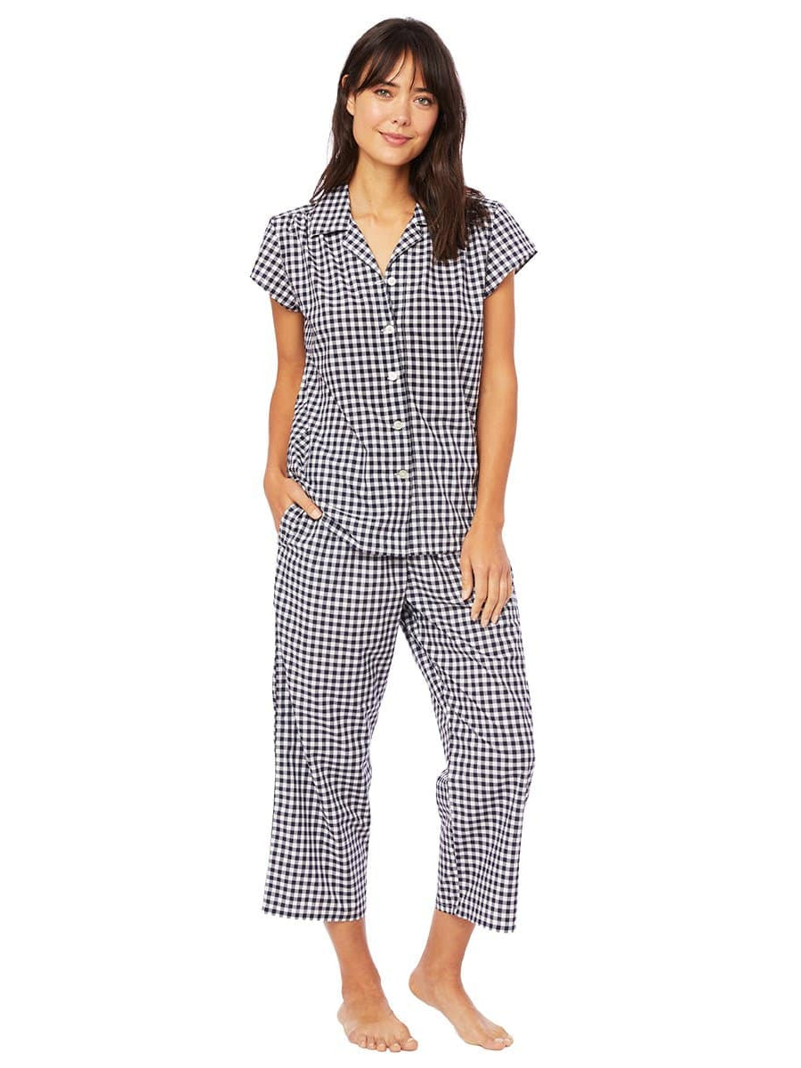 Model wearing Gingham Luxe Pima Cotton Capri