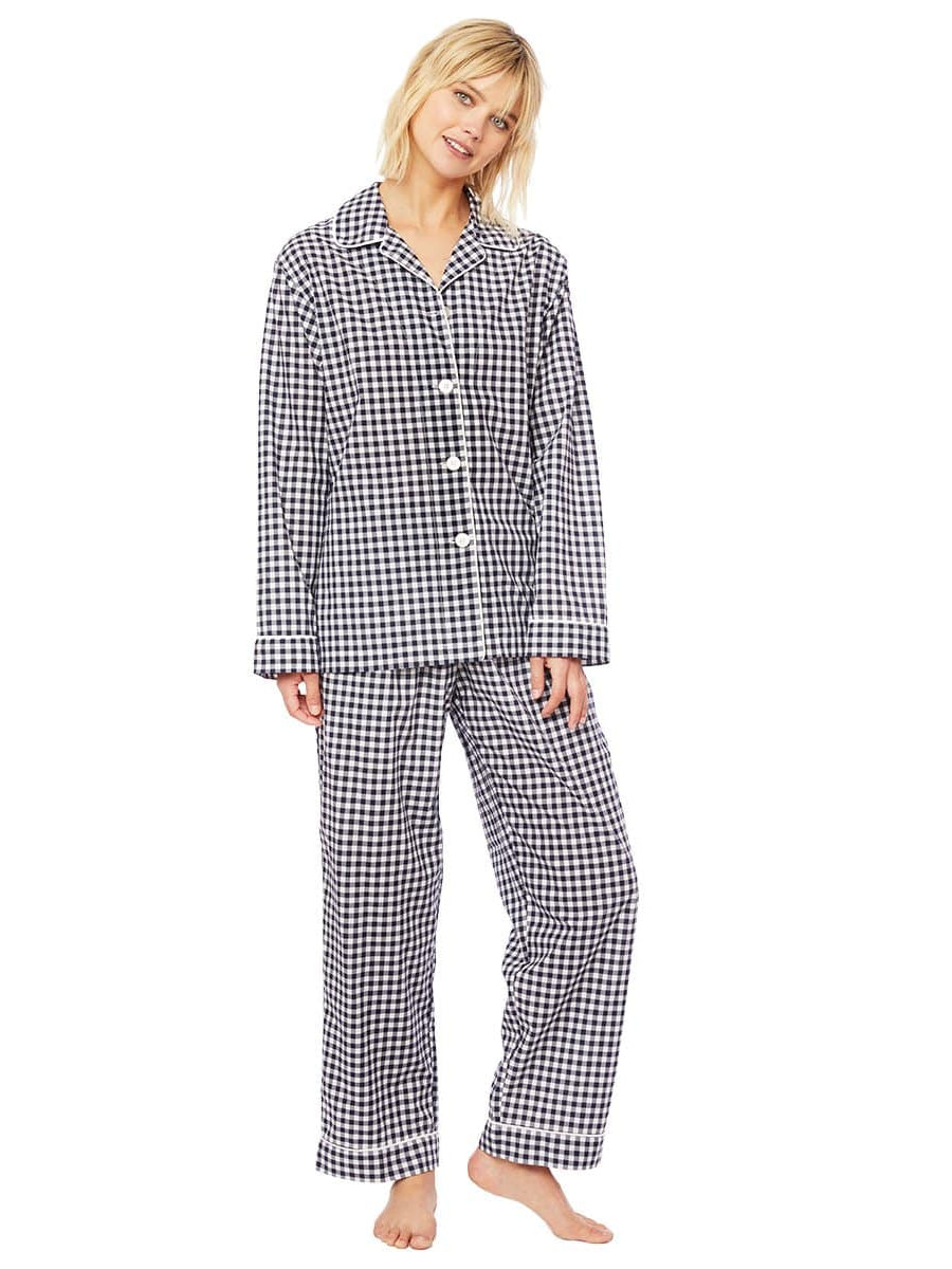 Model wearing Gingham Luxe Pima Cotton Pajama