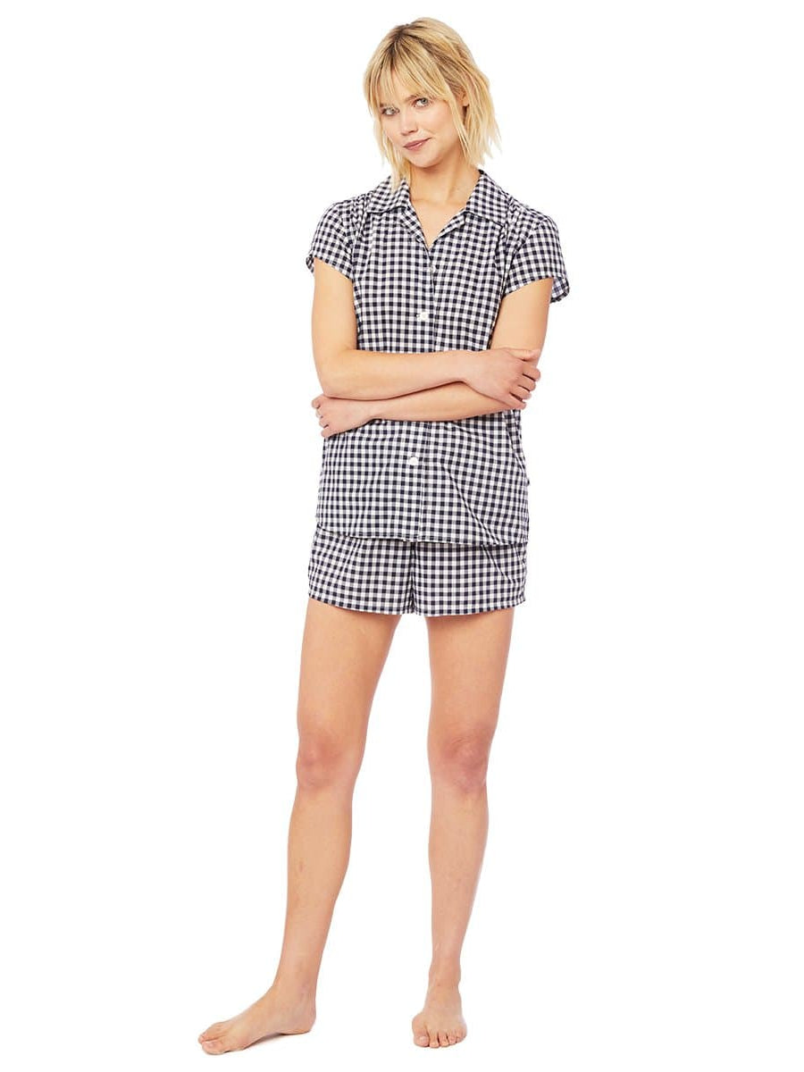 Model wearing Gingham Luxe Pima Cotton Short Set