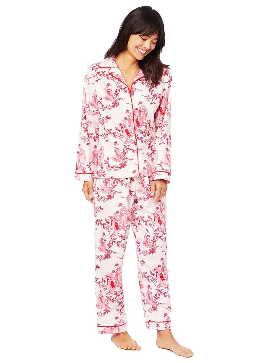 Model wearing Geisha Flannel Pajama