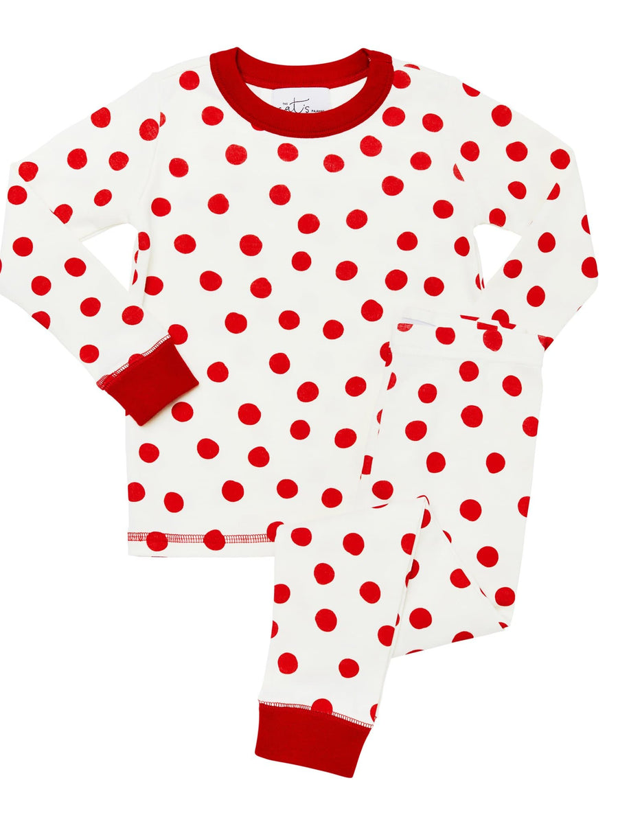 Model wearing Kids Sprinkle Dots Pima Knit Long-Sleeved Pajama