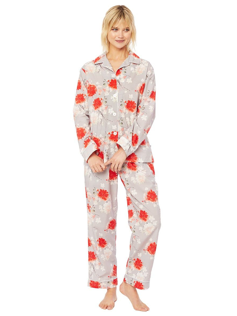 Model wearing Kiku Luxe Pima Cotton Pajama