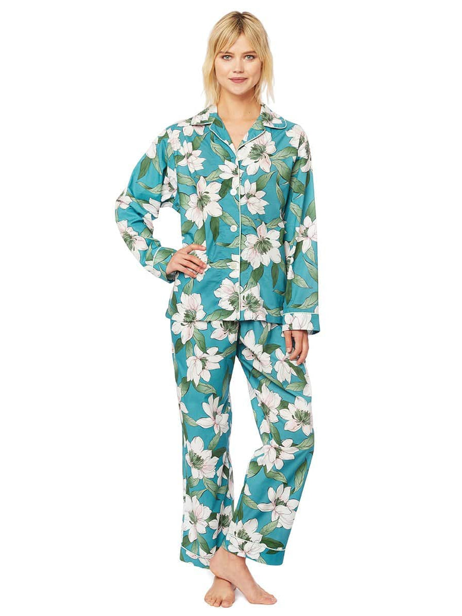 Model wearing Magnolia Nights Luxe Pima Cotton Pajama