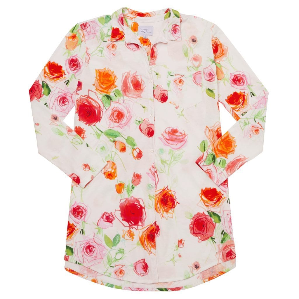 Tossed Roses Pima Knit Night Shirttest