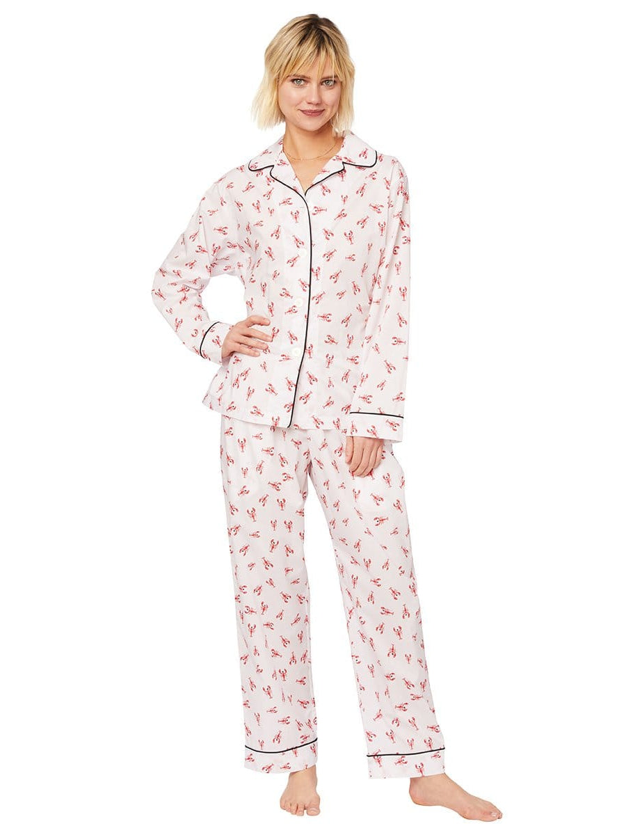 Model wearing Mister Lobster Luxe Pima Pajama