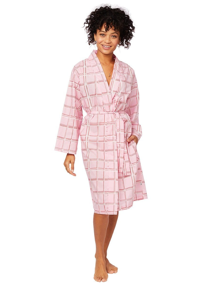 Model wearing Pretty in Pink Luxe Pima Robe