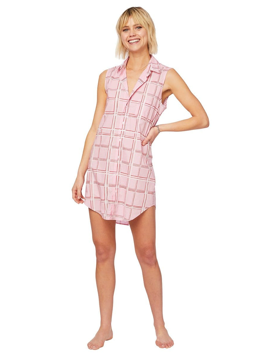 Model wearing Pretty in Pink Luxe Pima Sleeveless Night Shirt