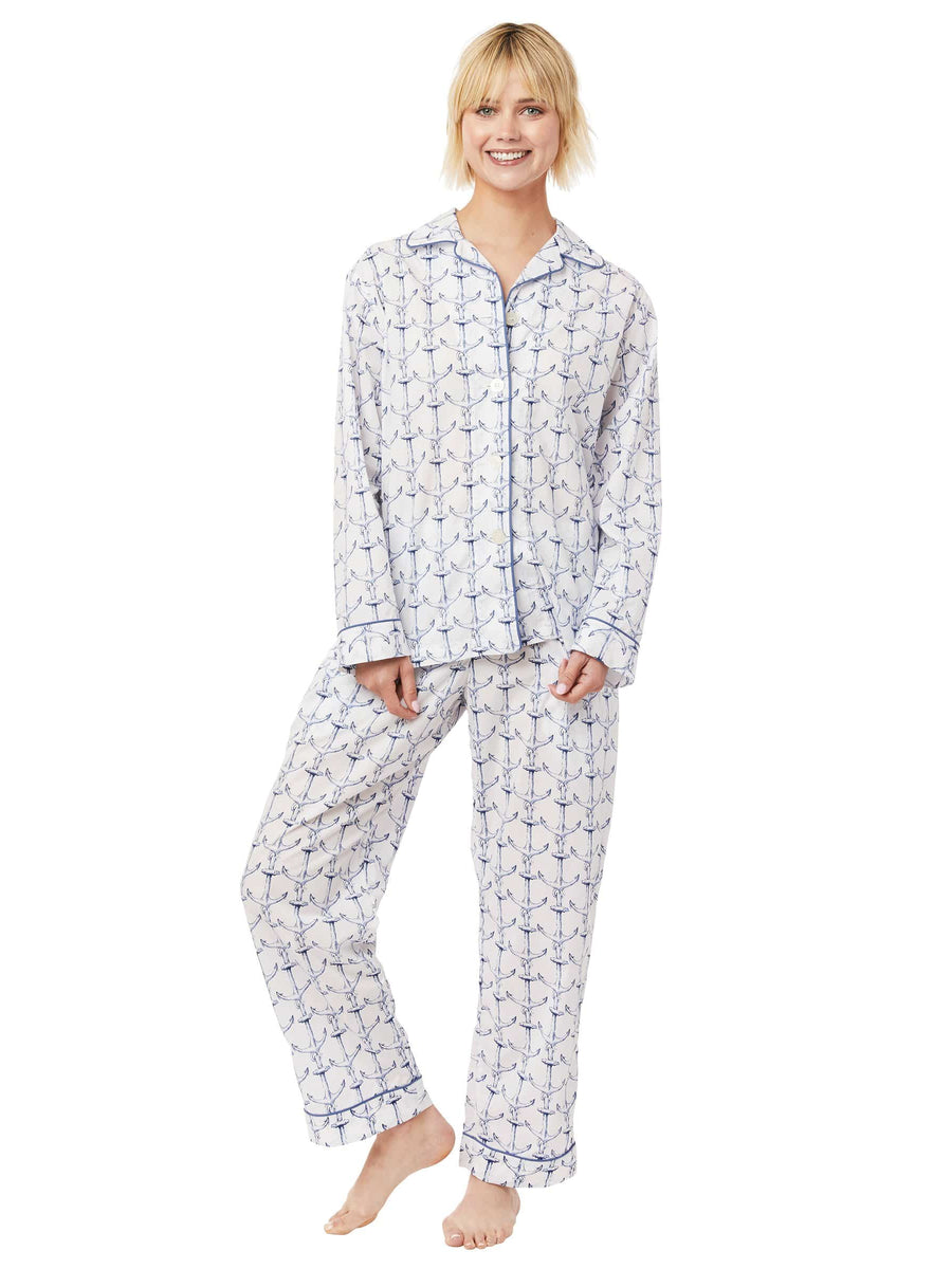 Model wearing Anchors Away Luxe Pima Pajama