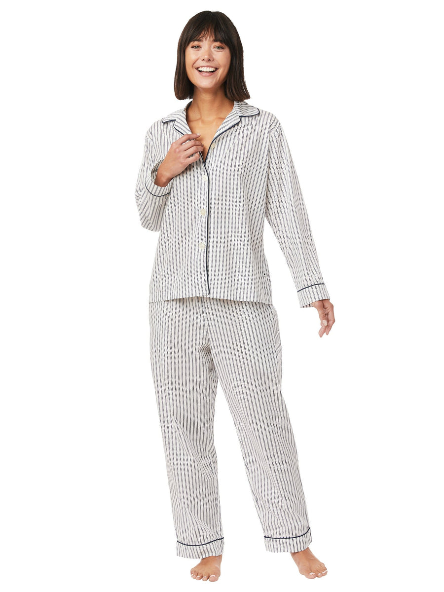 Model wearing Petal Stripe Luxe Pima Pajama