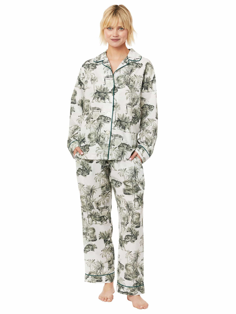 Model wearing Tiger Toile Luxe Pima Pajama