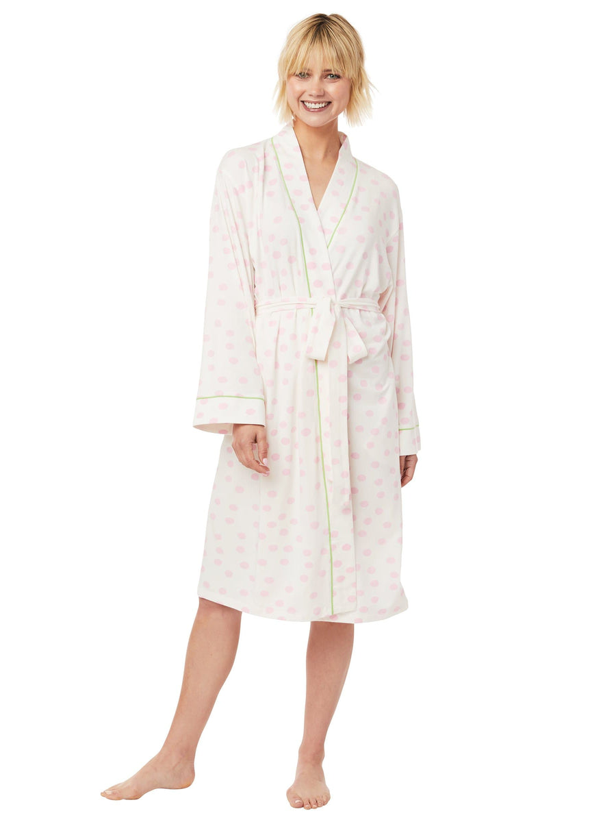 Model wearing Sprinkle Dots Pima Knit Robe