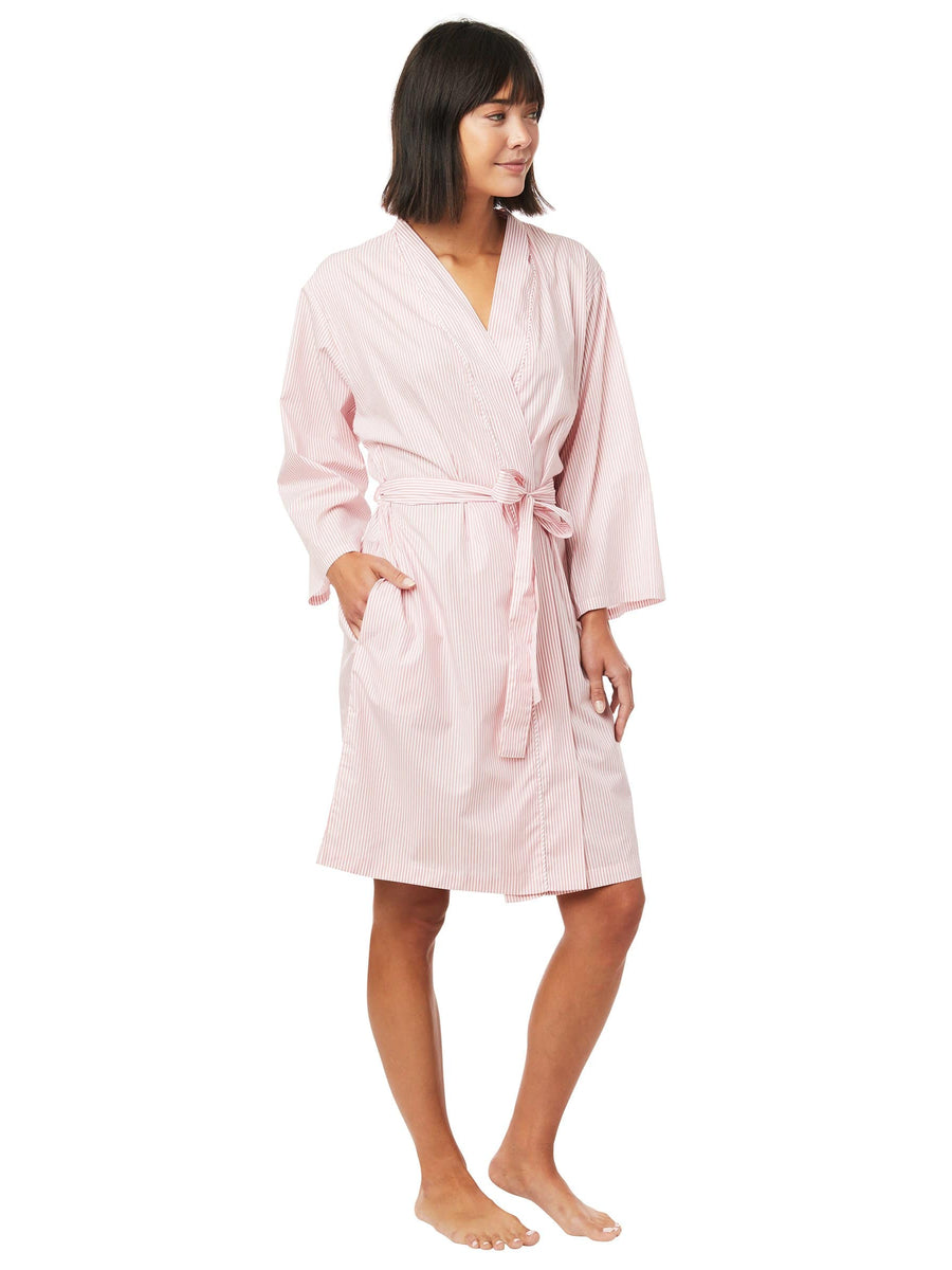 Model wearing Simple Stripe Luxe Pima Robe