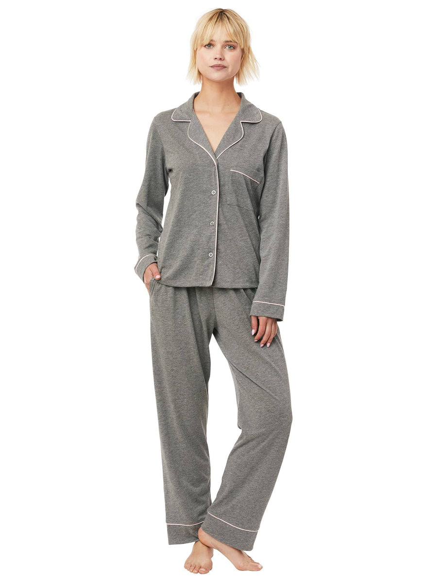 Model wearing Heather Pima Knit Pajama