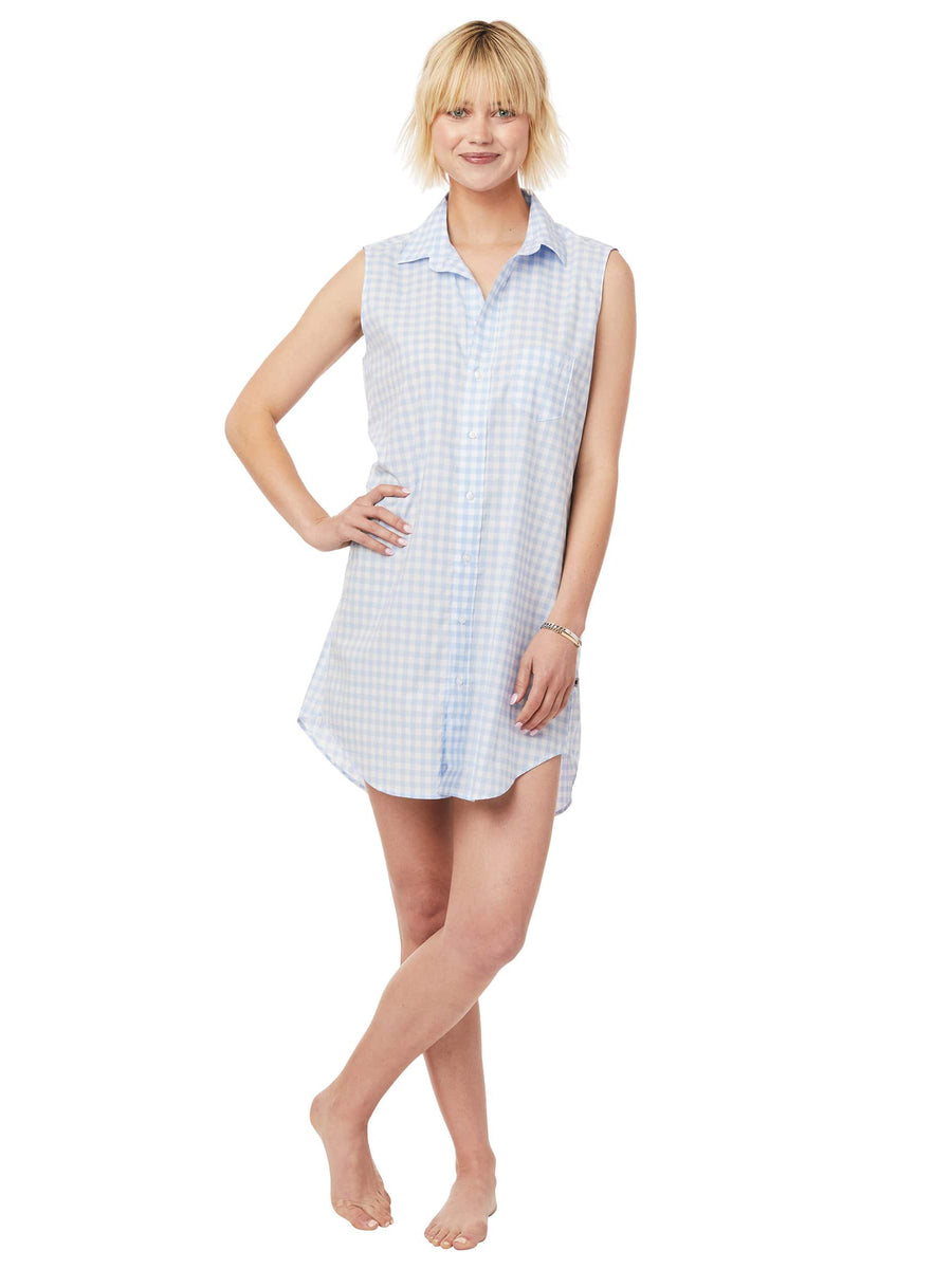 Model wearing Gingham Luxe Pima Sleeveless Night Shirt