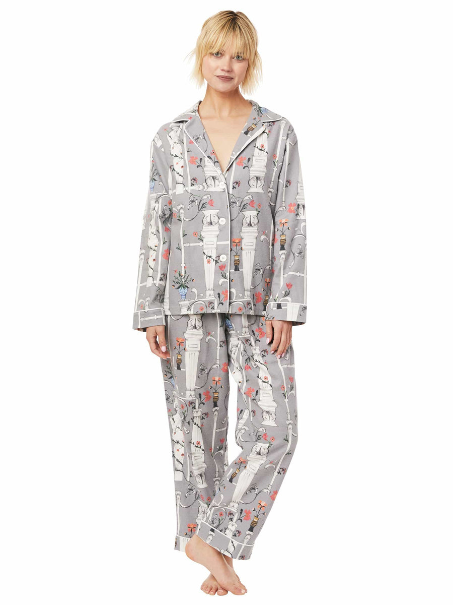 Model wearing Venus Pima Flannel Pajama