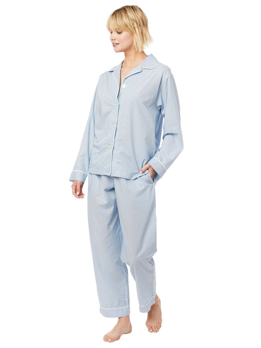 Model wearing Xs and Os Luxe Pima Pajama