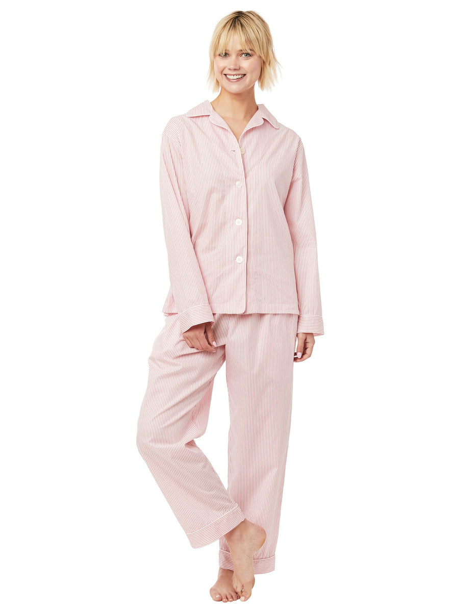 Model wearing Simple Stripe Luxe Pima Pajama