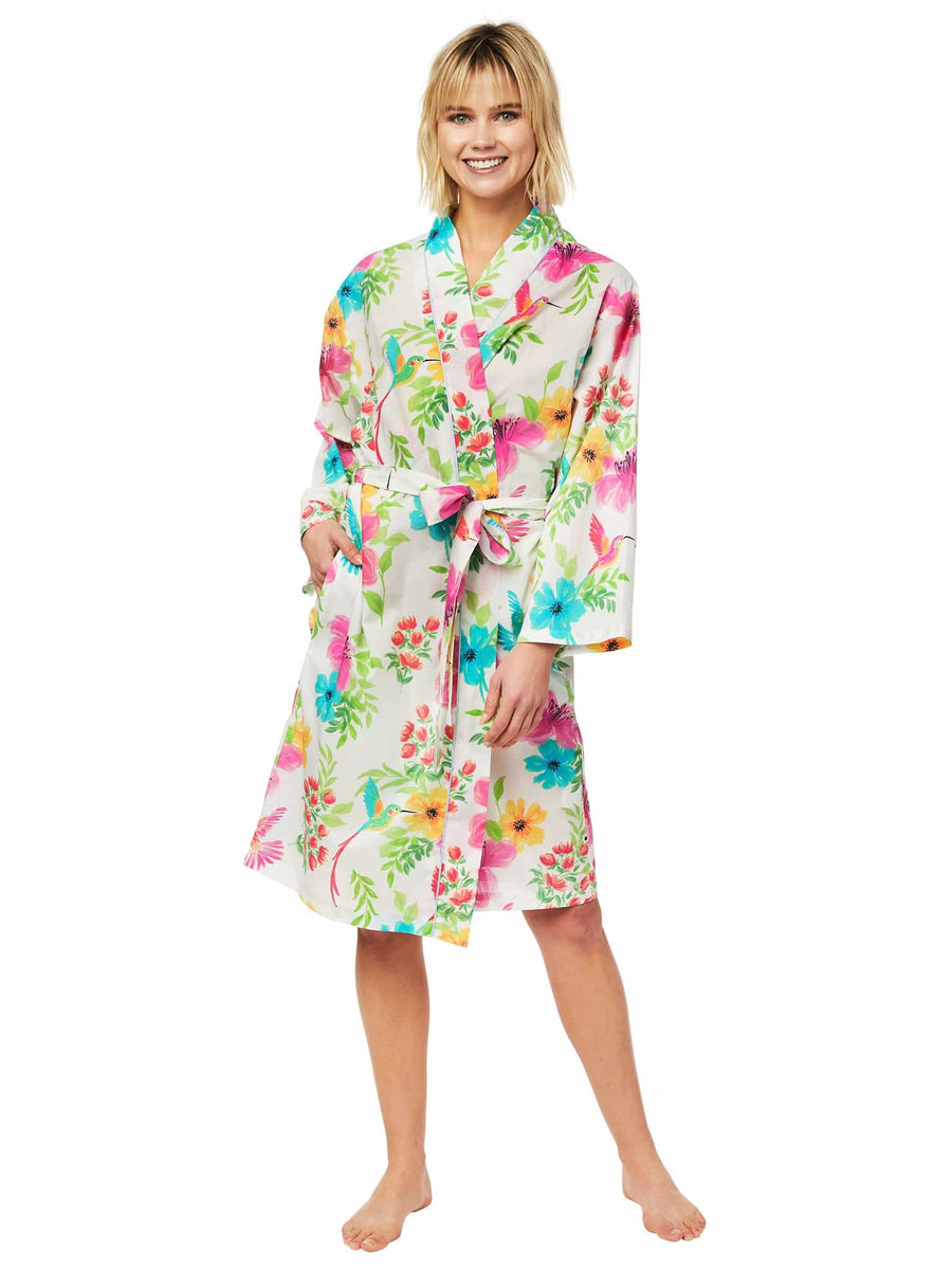 Model wearing Tropicana Luxe Pima Robe
