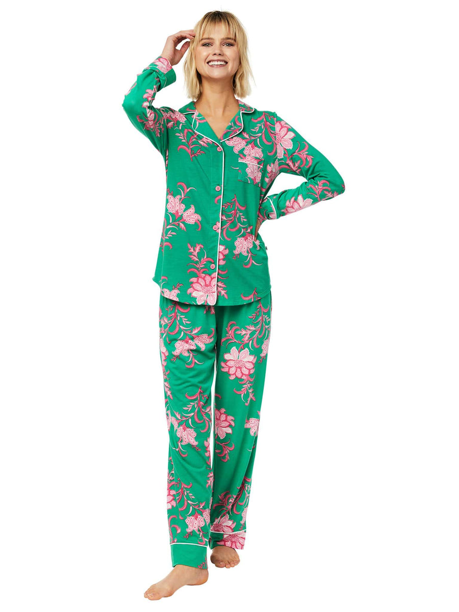 Model wearing Ava Pima Knit Pajama