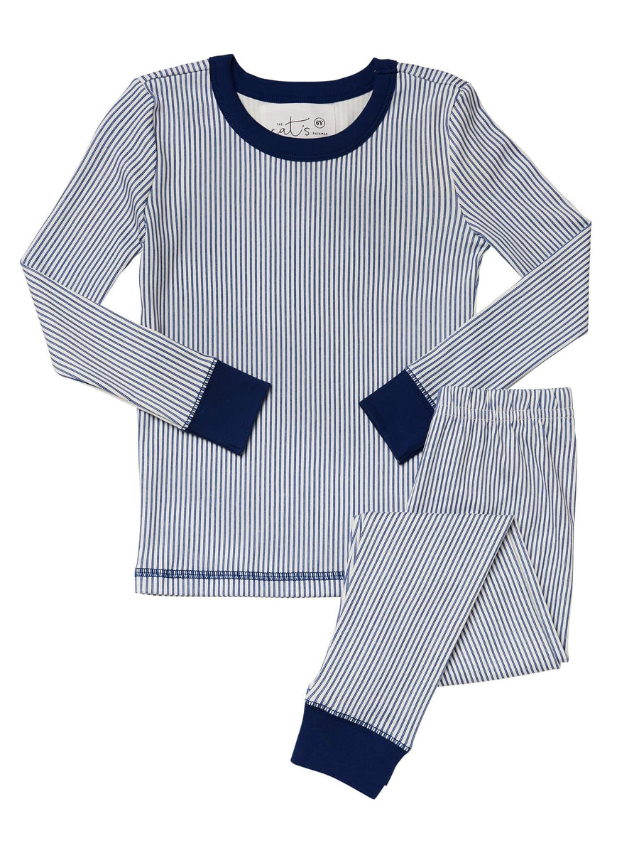Model wearing Simple Stripe Kids Pima Knit Pajama