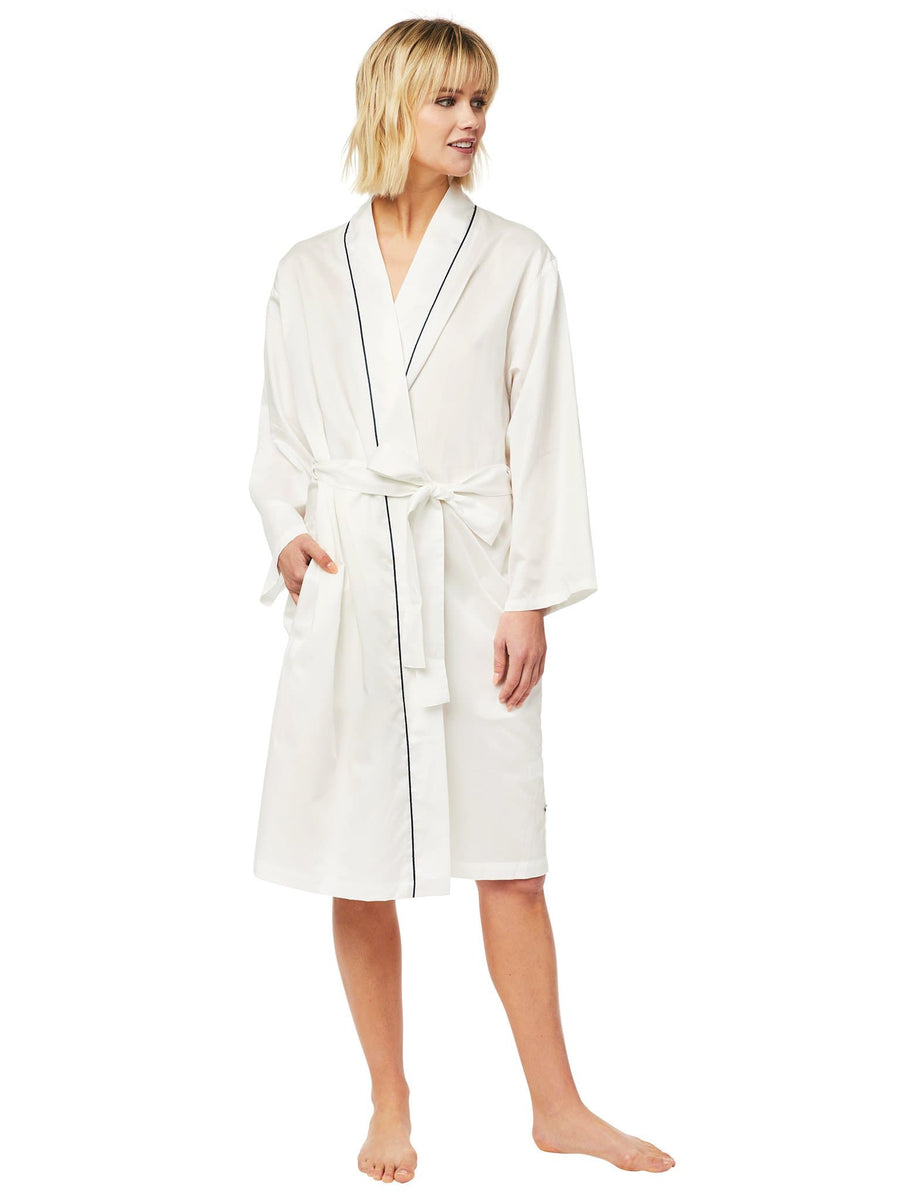 Model wearing Classic White Luxe Pima Robe