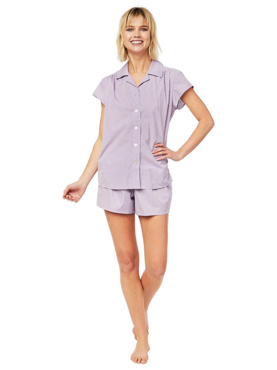 Model wearing Lavender Check Luxe Pima Short Set