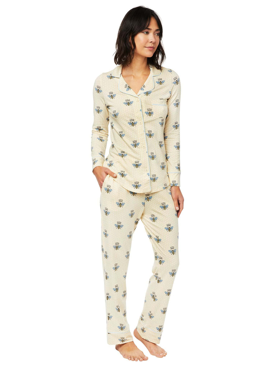 Model wearing Queen Bee Pima Knit Long-Sleeved Pajama