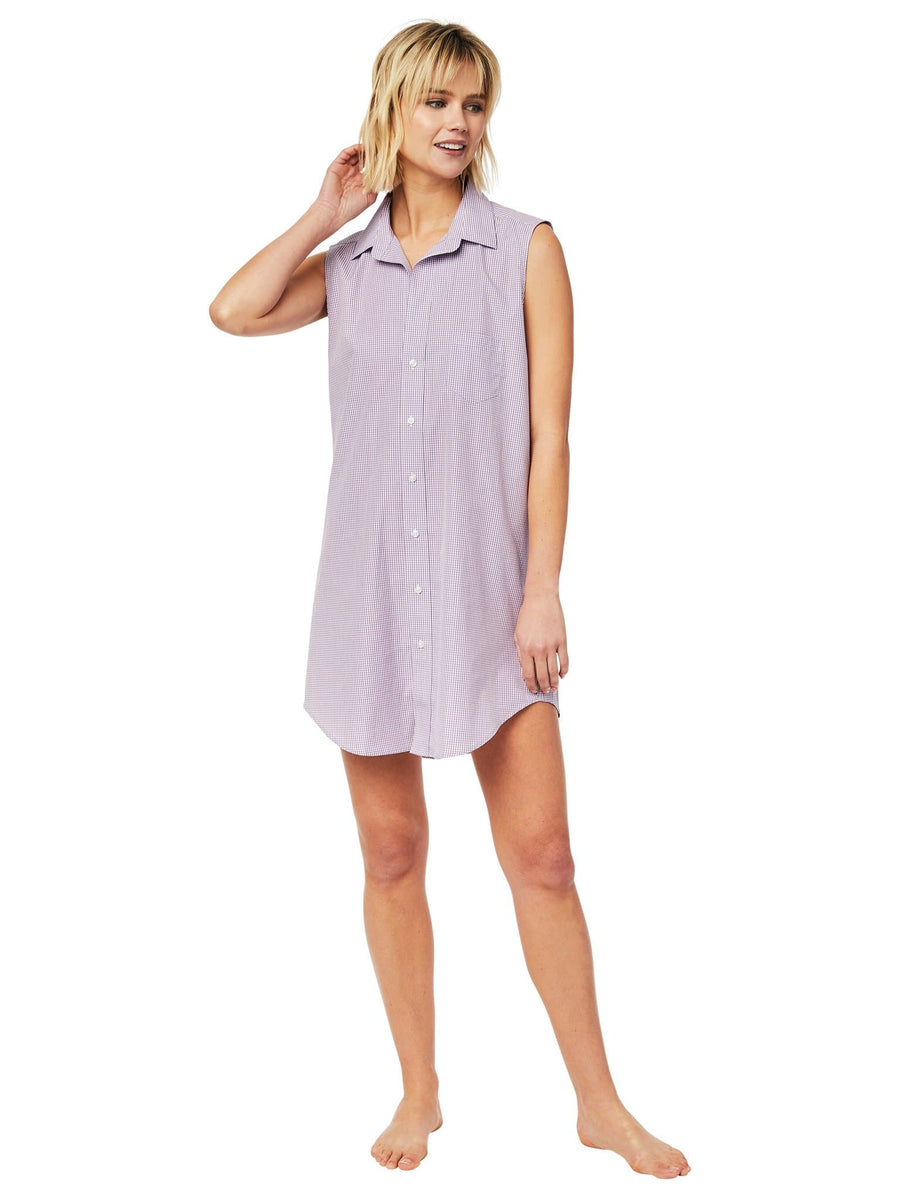 Model wearing Lavender Check Luxe Pima Sleeveless Night Shirt