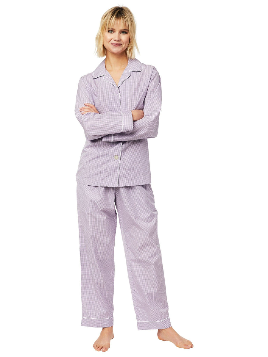 Model wearing Lavender Check Luxe Pima Pajama